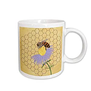 mug_12701 CherylsArt Insects Honey Bee - Honey Bee on Flower - Mugs 白色 15-oz