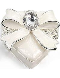 VI N VI 白色丝带心形首饰盒带大银水钻珠宝