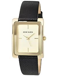 Anne Klein 女士皮革手链手表,AK/2706CHBK,黑色/金色