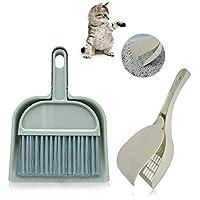 ZLCA 猫砂铲带盖塑料小猫砂铲铲爬行动物饲养铲,带 1 个迷你垃圾桶和刷子