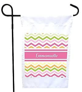 "Rikki Knight""Emmanuelle Pink Chevron 姓名房子或花园旗帜,11 x 11 英寸图像,12 x 18 英寸"