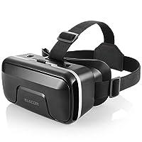 Elecom 宜丽客 VR护目镜 VR头戴式耳机 可调整焦距 对应眼镜 4.0~6.5英寸的iPhone/andorid可用。VRG-X01BK  1)单品 黑色