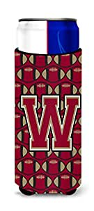 Caroline's Treasures CJ1078-WLITERK Letter W Football Garnet and Gold Wine Bottle Koozie Hugger, 750ml, Multicolor