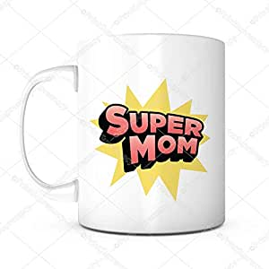 Super Mom- Happy Mother's Day 礼品马克杯创意趣味卡通咖啡杯语录妈妈/母亲在法律上的生日礼物,来自儿子 无铅陶瓷 11OZ 个性茶杯 妈妈马克杯 白色 MUG-CAMERA