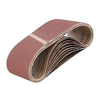 ABN 皮带砂纸磨砂皮带用于皮带磨砂机,氧化铝砂皮带 3x18 英寸 10 件装 320 Grit 9966