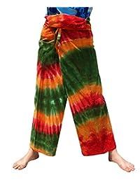 RaanPahMuang 厚 Muang 棉质泰国渔夫裤充满活力的扎染长款
