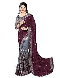 Nivah 时尚女式缎面和网眼半N 半刺绣工装莎丽上衣衬衫 K608
