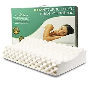 [下单售价7折]ECOLIFELATEX 伊可莱 泰国进口 乳胶枕头 护颈枕 PT3CS(按摩低款8-10cm) [新老包装交替 随机发货](亚马逊自营商品, 由供应商配送)