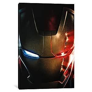 "iCanvasART 1 Piece Iron Man Damaged Helmet, Movie Poster Canvas Print, 40 by 26""/0.5"" Deep"