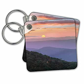 3dRose Danita Delimont - 降临 - 蓝色脊柱山日出,大*山国家公园,田纳西州 - 钥匙链 set of 2 不适用
