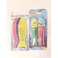 Time To Splash 潜水捕鱼游泳玩具 ~ 亮色 3 件加重鱼和 2 件趣味面部章鱼套装