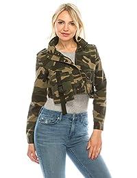 Khanomak 女式长袖短款前口袋迷彩夹克