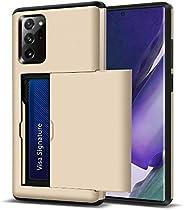 金色三星 Galaxy Note 20 Ultra 保护套钱包带卡夹超薄滑动信用卡插槽全身保护外壳防刮防震保护套适用于 Galaxy Note 20 Ultra 6.9 英寸 2020