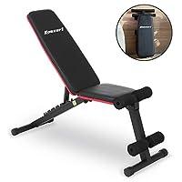 Komsurf 可调节重量长椅,折叠式健身长椅,适用于家庭健身房,全身锻炼力量训练,锻炼器材身体健身房系统
