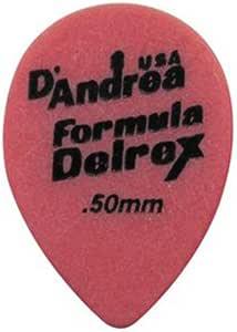 D'Andrea TD358,0.50TH * Delrex 吉他拨片,12 件,红色,0.50 毫米,薄款