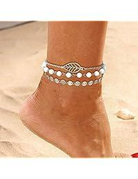 Asooll 银色波西米亚层亮片叶脚链白色串珠脚踝手链时尚夏季海滩*首饰套装 适合女士和女孩