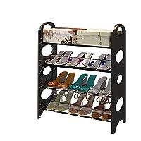可拆装宿舍简易鞋架多层铁艺家用收纳组装鞋柜经济型现代简约 (四层黑色)