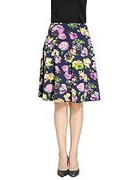 Marycrafts 女式夏季花卉高腰及膝中长裙带口袋