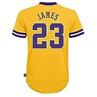 Outerstuff 勒布朗詹姆斯洛杉矶湖人队 #23 儿童 4-7 短袖球员姓名和号码表演球衣
