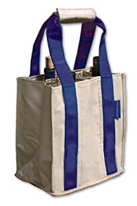Fine Whines Party To Go Tote, Khaki with Royal Blue Trim
