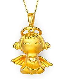 周大福 光沙福星宝宝之 家和宝宝硬足金 黄金吊坠 R7620 女款(亚马逊自营商品, 由供应商配送)