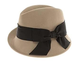时尚毛毡羊毛软呢帽,倾斜帽檐 Trilby 帽子,罗缎蝴蝶结帽子 灰褐色 均码 43230-37858