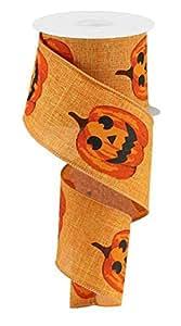 """Jack O Lantern Pumpkins 有线边缘丝带 2.5"""" x 10码 Talisman 2.5"""" x 10 yards (30 feet) RG017315T"""