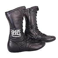 Cleto Reyes 皮革系带高帮拳击鞋 - 黑色