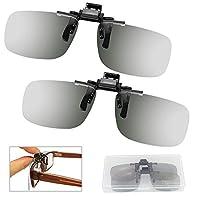 ZILONG 2 只装 3D 夹式眼镜通用真实 3D 眼镜夹子 3D 眼镜偏光夹 用于*眼镜/电影影院院被动式 3D 电视(盒装)