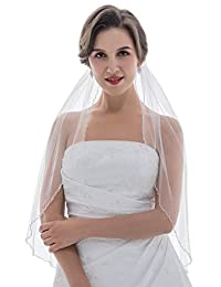 1T 1 层珍珠水晶串珠婚礼头纱肘部长度 76.2cm