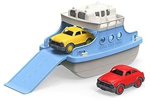 Green Toys 渡轮,带迷你汽车,浴缸玩具,蓝色/白色