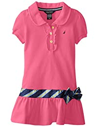 Nautica Little Girls' Pique Polo Dress with Gold Buttons