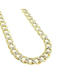 NYC 标准男女通用银色 5mm 双色 迈阿密古巴链项链 18'-30'