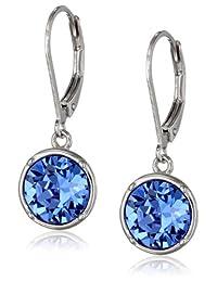 Sterling Silver Blue Swarovski Elements Crystal Round Lever Back Drop Earrings