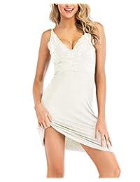 MINTLIMIT 女式睡衣蕾丝可调节细肩带吊带吊带背心 V 领中长蕾丝连衣裙