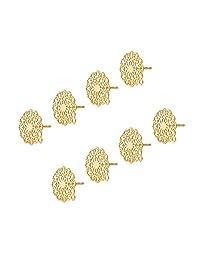UNICRAFTALE 20 件金花耳钉配件 304 不锈钢金银丝耳钉配件带环蝴蝶塞耳螺母 0.7 毫米针状耳环用于珠宝制作 16 x 14 毫米,孔 1 毫米