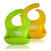 防水硅胶围嘴 �C 易于清洗舒适柔软婴儿围嘴 �C 不含 BPA �C 轻质方便套装包括 2 种颜色,适合婴儿或幼儿!