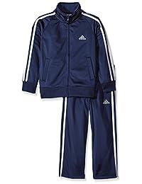 adidas 男孩 iconic 精编针织夹克裤子套装