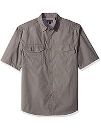 Wolverine 男式五叶草背部格子短袖衬衫