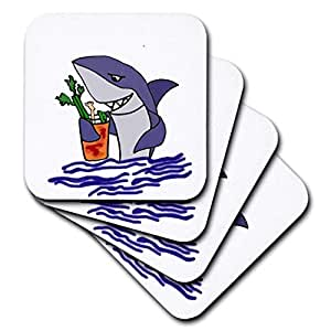 all smiles ART 有趣–FUNNY Shark drinking BLOODY Mary DRINK–杯垫 Not Applicable set-of-4-Soft