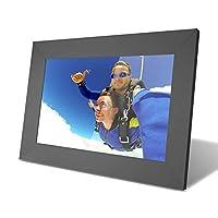 YUNTAB 10 英寸数码相框 - 适合所有年龄段的使用、1280 高清触摸屏、通过 APP即时分享照片、多用户连接、支持 TF 卡 40000 张照片、定时启动、WiFi 黑色
