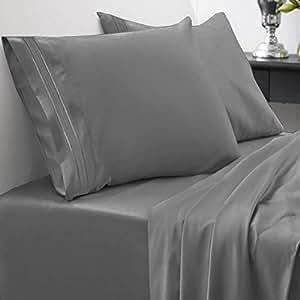 1800 支床单套装 - 柔软埃及优质拉绒超细纤维防*床单 - 豪华床上用品套装含床单,床笠,2 个枕套,大号双人床,灰色