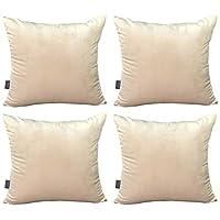 4 件装柔软天鹅绒靠垫套,舒适装饰方形抱枕枕套适用于沙发卧室沙发 18 x 18 英寸 45 x 45 厘米(仅枕套,无枕芯) 米色 18 x 18 Inch 45 x 45 Cm
