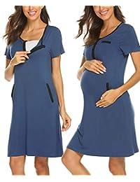 Ekouaer 女式短袖配送/孕妇/哺乳 睡衣 怀孕礼服 条纹夜间睡衣