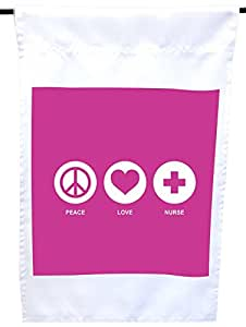 Rikki Knight 和平爱*玫瑰粉色房子或花园旗帜,30.48 x 45.72 cm 旗帜尺寸带 27.94 x 27.94 cm 图像