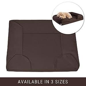 "Petlo 宠物沙发床替换罩 - 可拆卸防水防刮 - 可机洗,易清洁 - 双拉链带三角片 巧克力棕色 Small - 27"" x 22"" x 5.5"""