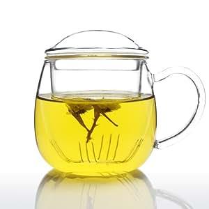 UNIHOM – 玻璃一体茶杯,配有注入器和盖子 透明 Zeo 385ml 1