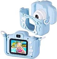 Bosszi 兒童數碼相機迷你攝像機,適合男孩和女孩| 2.0 英寸數碼雙攝像頭 | 20.0 MP 高清視頻攝像機防掉落兒童卡通自拍相機禮品 - 配有 32G SD 卡(藍色)