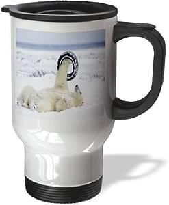 3dRose Polar Bear Aerobics Travel Mug, 14-Ounce