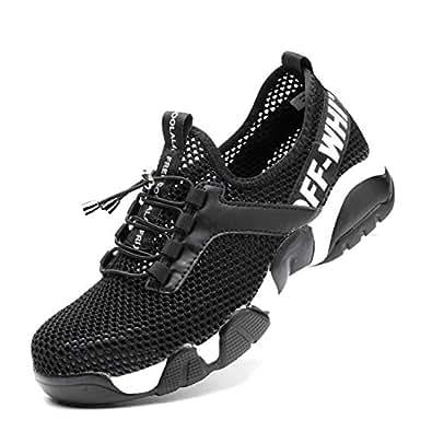 SUADEX 男士钢头鞋透气轻便工业结构工作*鞋,防穿刺复合运动鞋,黑色 44